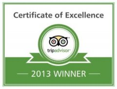 Timber tops Luxury Cabin Rentals 2013 Certificate of Excellence Award
