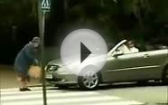 funny old lady hits luxury mercedes car with purse airbags